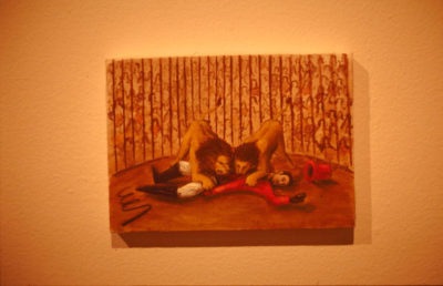 autorretrato en el circo  --  17x25  --  oooleo sobre lienzo