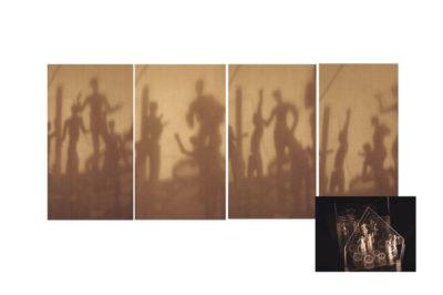 tiempos modernos o baile de las sombras  --  50x40x100  --  ceraaamica patinada, metacrilato, mecanismo