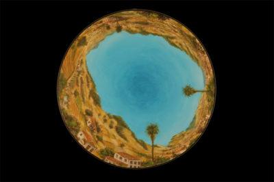 portulanos de la laguna, este  --  47cm diaaametro  --  oooleo sobre lienzo