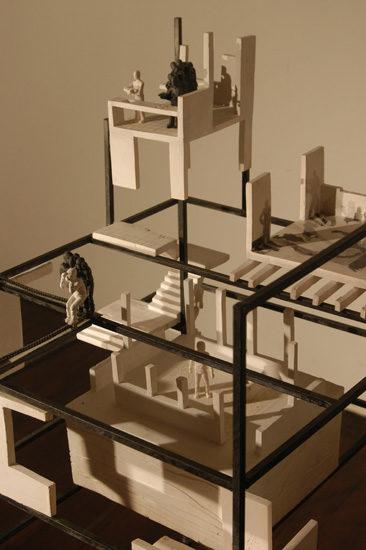 cuatro estancias y una escalera  --  70x62x125  --  ceraaamica, acriiilico, hierro