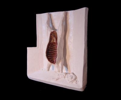 caballo desollado  --  30x23x15  --  ceraaamica ,madera, oooleo