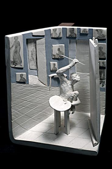 mono pintor  --  17x21x15  --  ceraaamica ,madera, oooleo